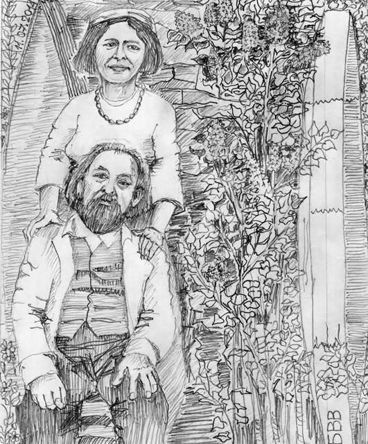 К. Э. Циолковский и его средняя дочь Мария в мае 1914-го