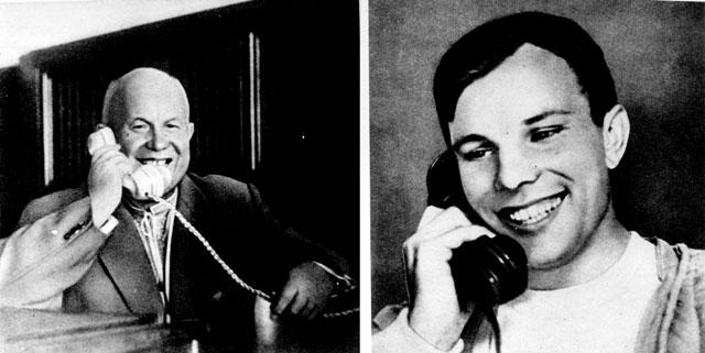 Первый космонавт говорит по телефону с Кремлём 12 апреля 1961 года