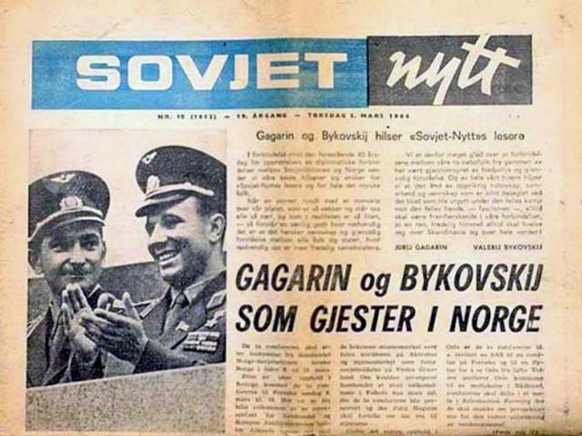 В норвежской прессе доброжелательно описывали визит советских космонавтов Гагарина и Быковского