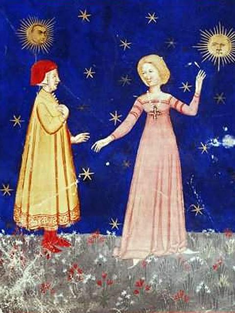 Данте и Беатриче на Луне. Иллюстрация из рукописного издания «Божественной комедии» XIV века.