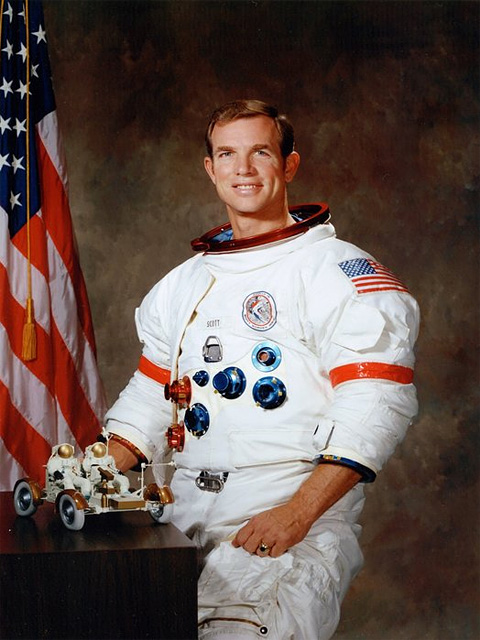 Дэйвид Скотт перед стартом на Луну на корабле «Аполлон-15». Июль, 1971